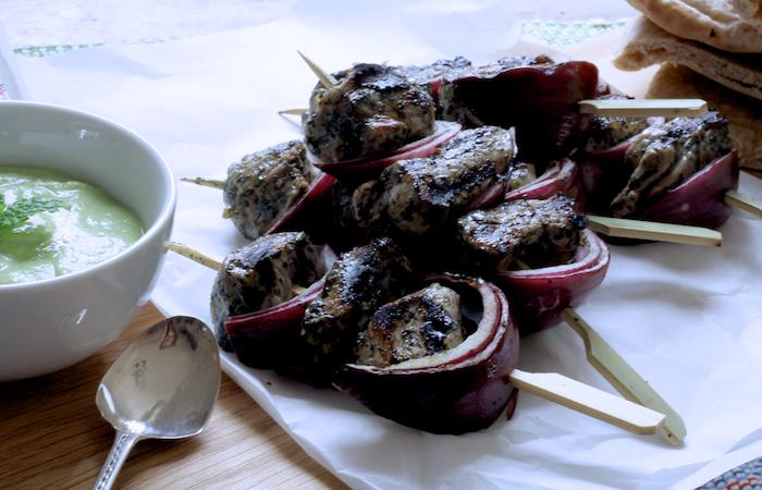 Minted Lamb Skewers with Pea and Feta Dip