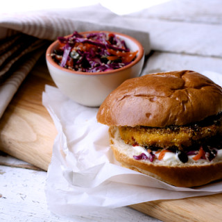 Sweet Potato, Chickpea, Lime and Coriander Burgers with Crunchy Slaw