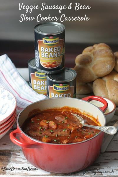 Veggie Sausage and Bean Slow Cooker Casserole on feedingboys.co.uk for #LoveBranstonBeans