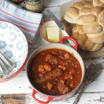 Veggie Sausage and Bean Slow Cooker Casserole on feedingboys.co.uk for #LoveBranstonBeans
