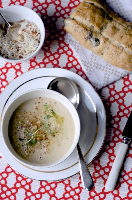 Roasted cauliflower and garlic soup with an almond and parmesan crumble on feedinboys.co.uk