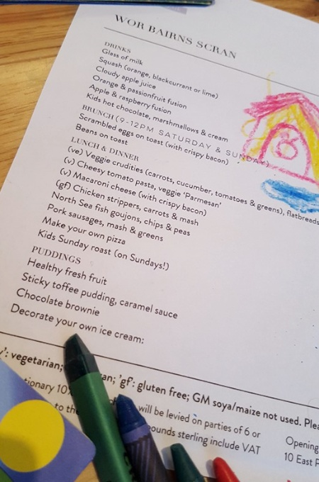 The kids menu at Hinnies Restaurant, Whitley Bay