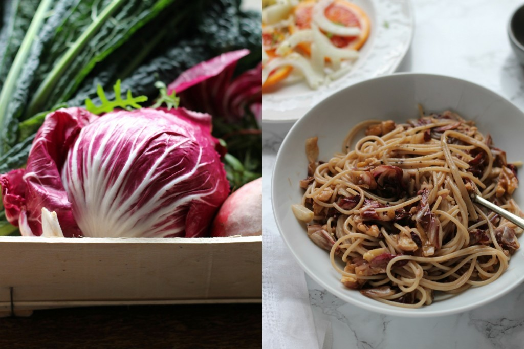 Radicchio and Walnut Spaghetti - Natural Kitchen Adventures