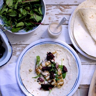 Roasted Beetroot, Garlic and Halloumi Wraps