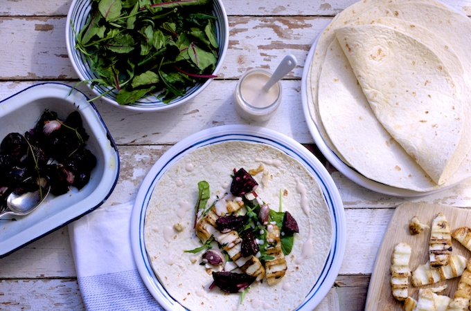 Roasted Beetroot, Garlic and Halloumi Wraps on feedingboys.co.uk for #OrganicUnboxed