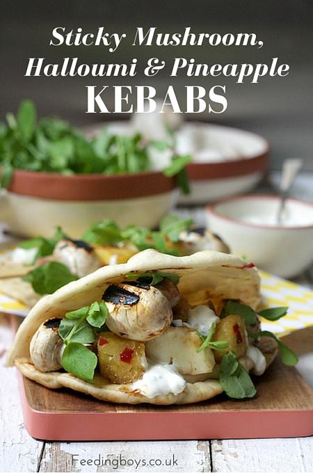 Sticky Mushroom, Halloumi and Pineapple Kebabs on feedingboys.co.uk - perfect for vegetarian BBQs