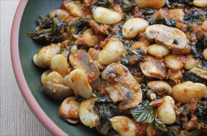 Curried Butterbeans with Mushrooms and Kale from Allotment 2 Kitchen