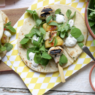 Sticky Mushroom, Halloumi and Pineapple Kebabs