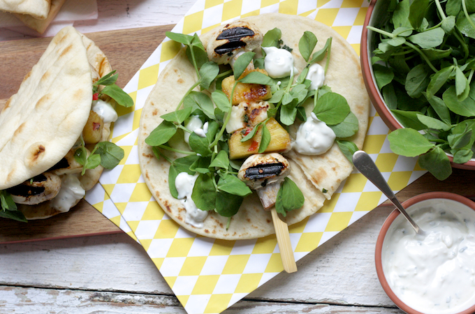 Sticky Mushroom, Halloumi and Pineapple Kebabs on feedingboys.co.uk - perfect for vegetarian BBQs