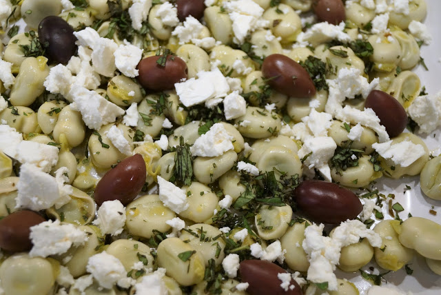 Broad Bean and Feta Salad on Onions and Paper