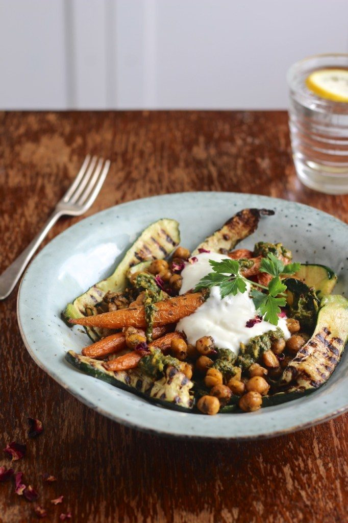 Rose Chermoula Roasted Chickpeas and Carrots with Griddled Courgettes from Natural Kitchen Adventures