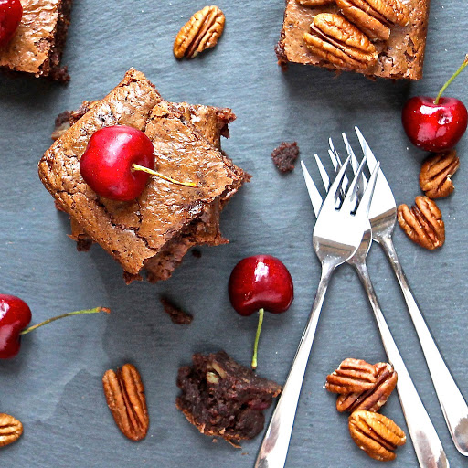 Chocolate-Cherry Pecan Brownies from The Gluten Free Alchemist