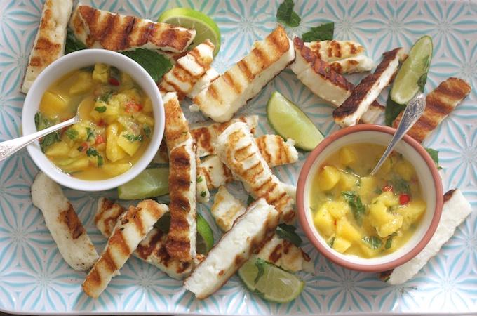 Halloumi Dippers with Mango, Mint and Chilli Salsa for Waitrose on feedingboys.co.uk