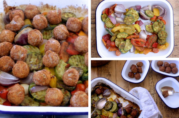 Roast vegetables and meatballs from Iceland on feedingboys.co.uk