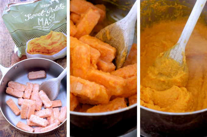 Making sweet potato mash using Iceland's products