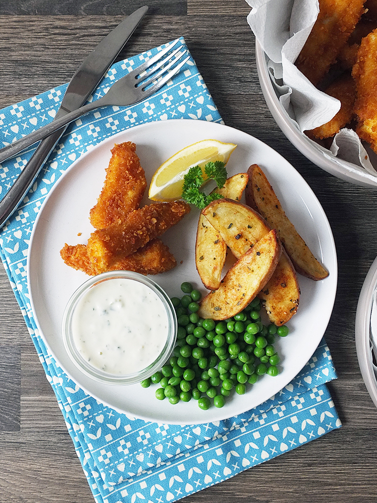Homemade Fish Fingers with Paprika-Spiced Potato Wedges and Tartare Sauce from Elizabeth's Kitchen Diary