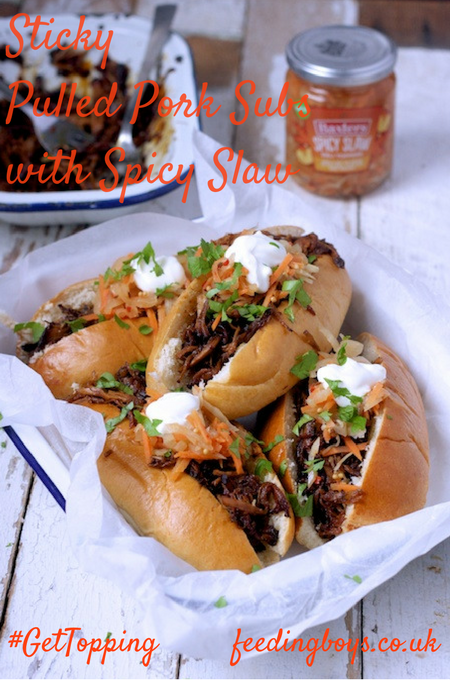 Sticky Pulled Pork Subs with Spicy Slaw on feedingboys.co.uk #GetTopping