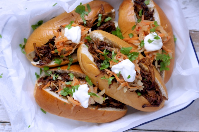 Sticky Maple Pulled Pork Subs with Spicy Slaw on feedingboys.co.uk