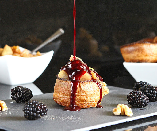 Sweet Autumn Dessert Yorkshires with Vanilla Sauteed Pear & Walnuts and Blackberry Coulis from The Gluten Free Alchemist