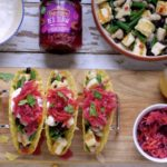 Halloumi and Three Bean Tacos with Red Slaw on feedingboys.co.uk