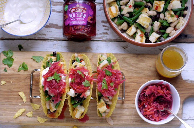 Halloumi and Three Bean Tacos with Red Slaw on feedingboys.co.uk