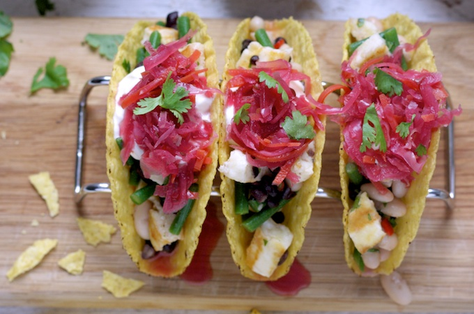 Halloumi and Three Bean Tacos with Red Slaw on feedingboys.co.uk #GetTopping
