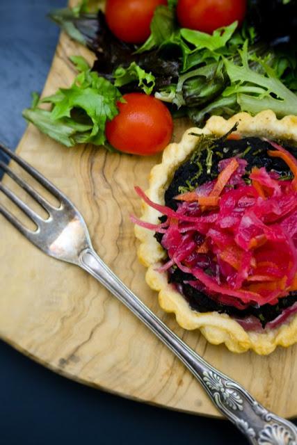 Vegan Mushroom Tarts with Pickled Slaw from tinnedtomatoes.com