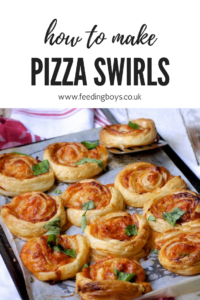 Easy recipe and video of how to make Packed Lunch Pizza Swirls on feedingboys.co.uk