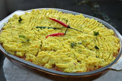 Curried Welsh Shepherd's Pie with Turmeric Mash from Allotment 2 Kitchen for Simple and in Season on feedingboys.co.uk