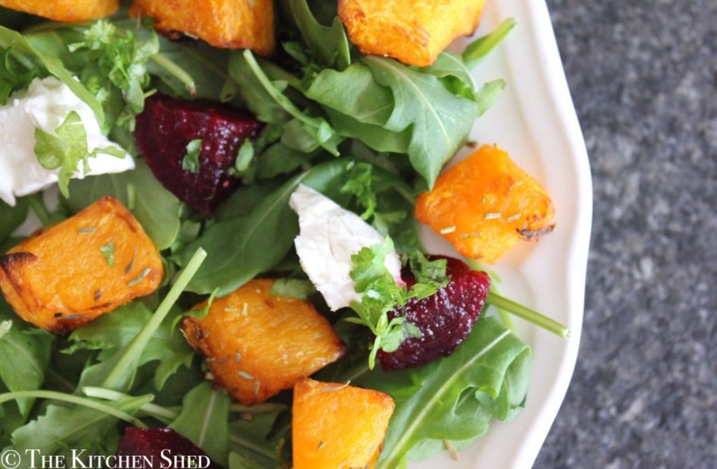 The Kitchen Shed popped by with this Clean Eating Butternut Squash, Goat's Cheese and Beetroot Salad for Simple and in Season on feedingboys.co.uk