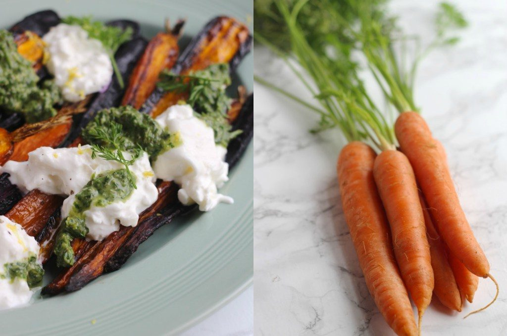 Carrots with Burrata and Carrot Top Salsa Verde from Natural Kitchen Adventures for Simple and in Season on feedingboys.co.uk