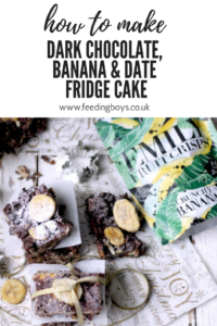 Edible Gift idea for Christmas: Dark Chocolate, Banana & Date Fridge Cake by Katie Bryson on feedingboys.co.uk