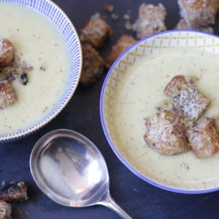 Leek and Potato Soup with Wholemeal Parmesan Croutons on feedingboys.co.uk