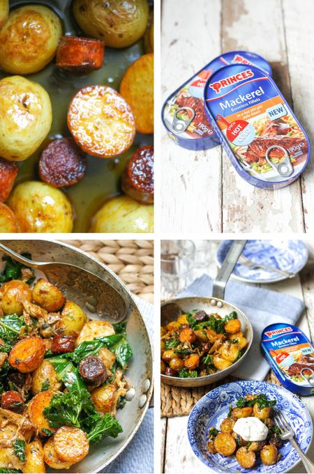 Cooking Spiced Mackerel, Chorizo, Potato & Kale Skillet Supper on feedingboys.co.uk