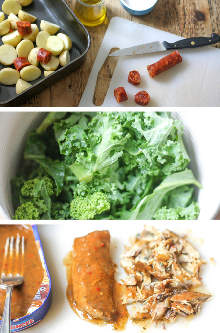 Ingredients for Spiced Mackerel, Chorizo, Potato & Kale Skillet Supper on feedingboys.co.uk