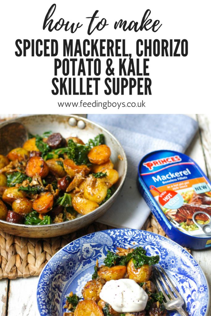 Spiced Mackerel, Chorizo, Potato & Kale Skillet Supper on feedingboys.co.uk