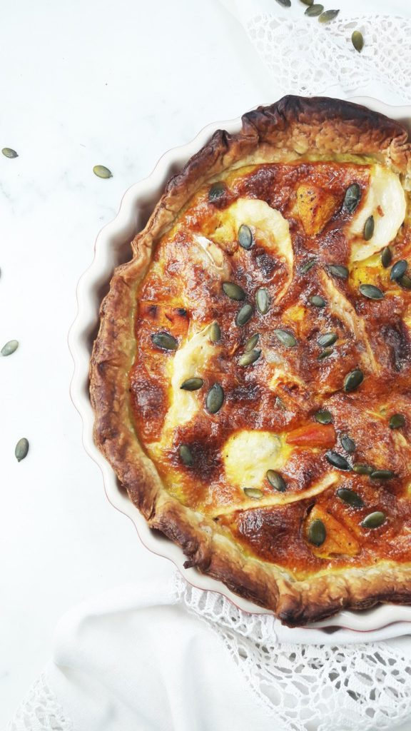 Pumpkin Goat Cheese Quiche from A hedgehog in the kitchen for simple and in season on feedingboys.co.uk