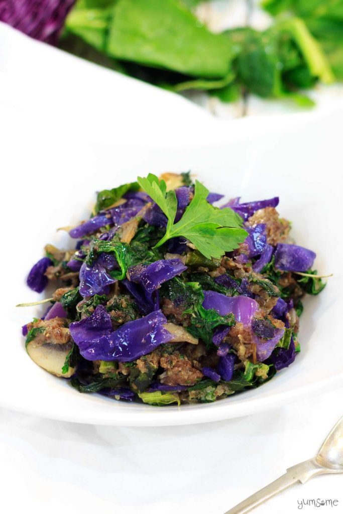 Vegan Red Cabbage and Mushroom Stuffing from Yumsome for Simple and in Season on feedingboys.co.uk