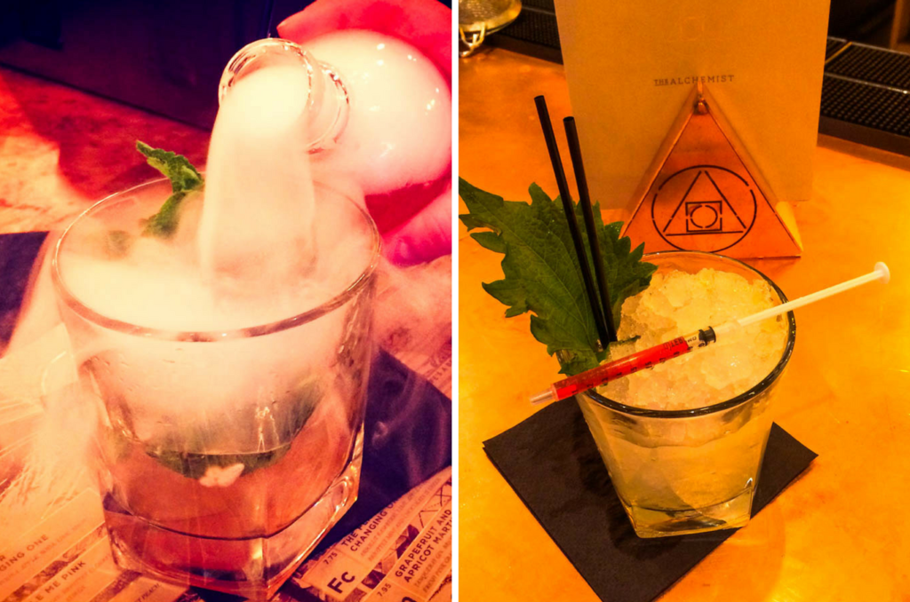 Lightbulb Moment and Tickle Me Pink cocktails at The Alchemist Newcastle