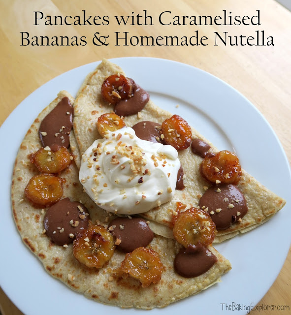 Pancakes with Caramelised Bananas and Homemade Nutella from The Baking Explorer for Simple and in Season on feedingboys.co.uk