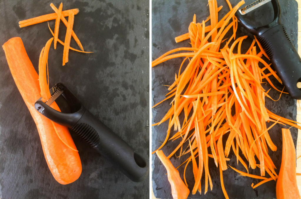 Prepping carrots for my easy Chicken and Pasta soup on feedingboys.co.uk