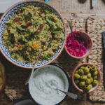 Minted Pea Cous Cous with Greek Yogurt Dip on feedingboys.co.uk
