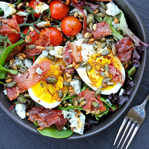 Goose Egg, Blue Cheese & Prosciutto Salad from The Gluten Free Alchemist for Simple and in Season on feedingboys.co.uk