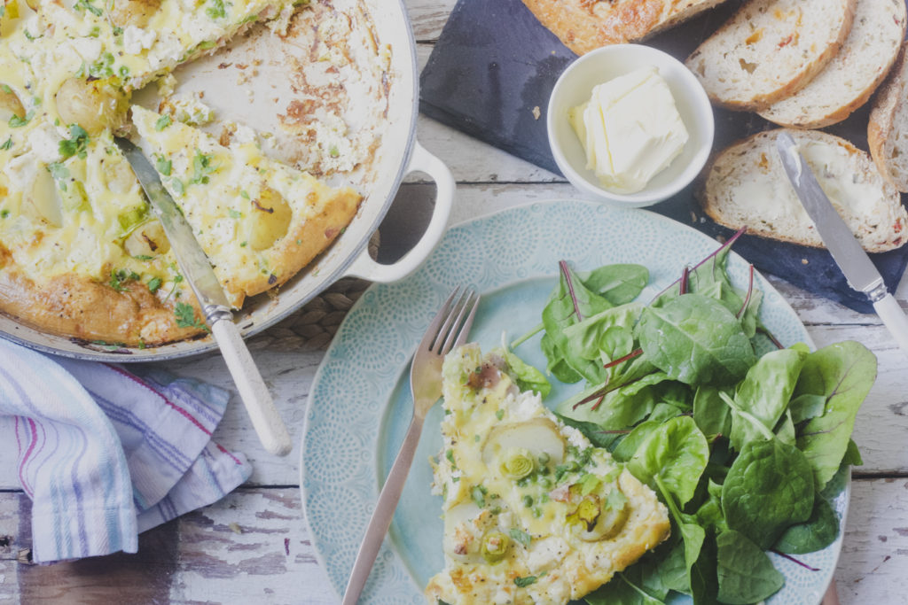 Leek, Potato, Bacon, Pea and Feta Frittata on feedingboys.co.uk