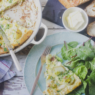 Leek, Potato, Bacon, Pea and Feta Frittata