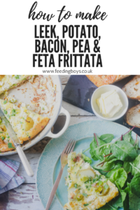 How to make Leek, Potato, Bacon, Pea and Feta Frittata on feedingboys.co.uk