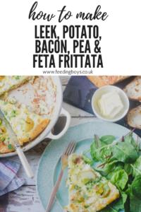 How to make Leek, Potato, Bacon, Pea and Feta Frittata on feedingboys.co.uk