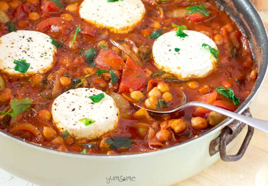 One-Pan-Vegan-Chickpea-Shakshuka from Yumsome for Simple and in Season on feedingboys.co.uk