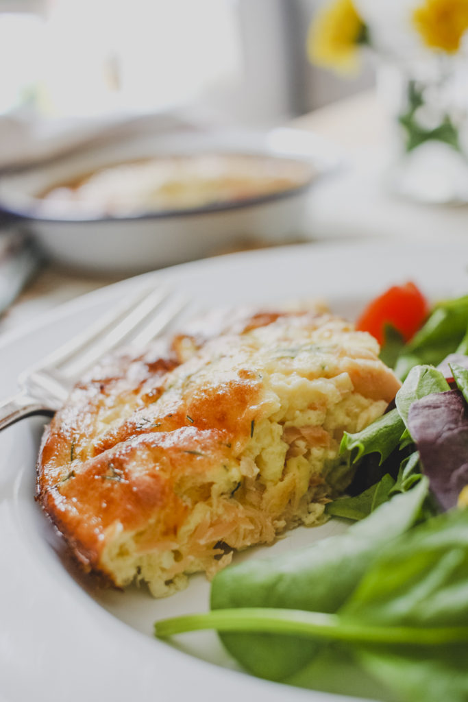 Slimming world friendly crustless quiche with salmon, dill and courgette on feedingboys.co.uk