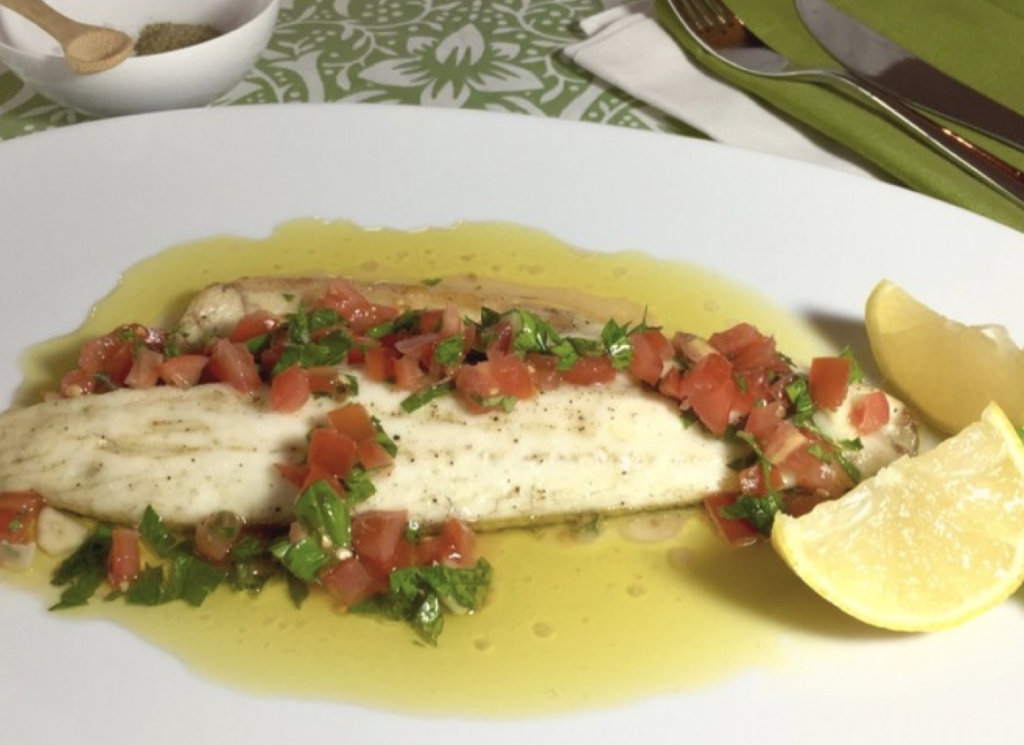 Grilled Sea Bass with Sauce Vierge from Family Friends Food for Simple and in Season on feedingboys.co.uk